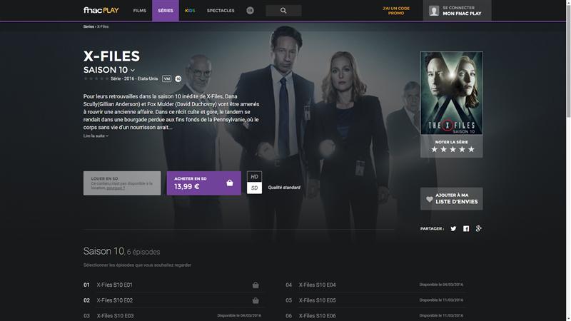 X-Files Saison 10 Fnac Play