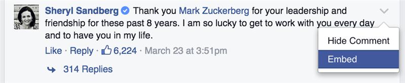 Commentaire intégré Facebook