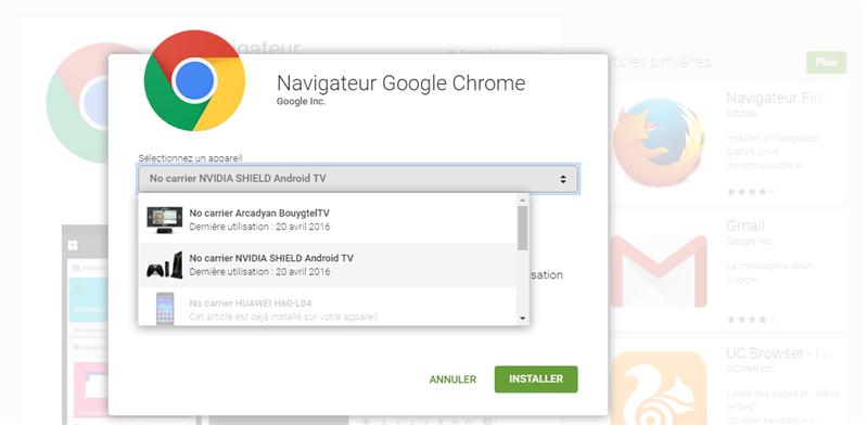 Installer Chrome Android TV