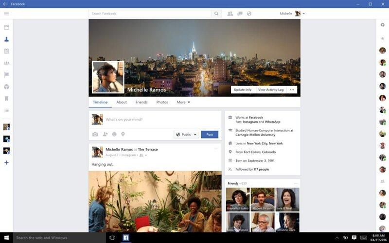 facebook messenger instagram windows 10 uwp
