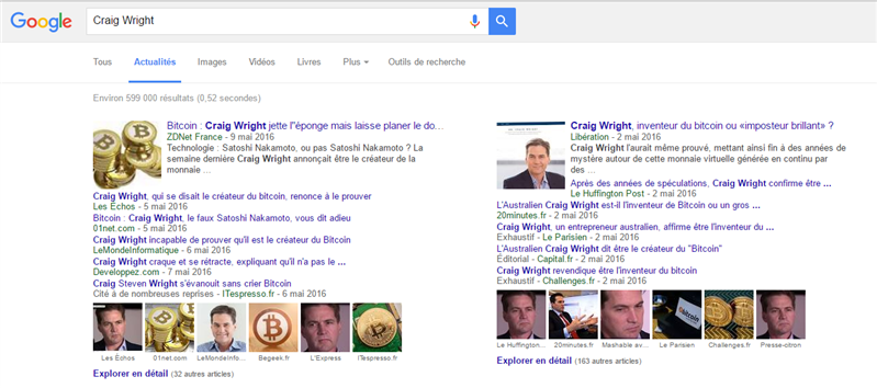 Google News Créateur Bitcoin Craig Wright