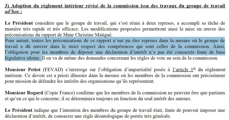 déclaration d'intérêts commission copie privée