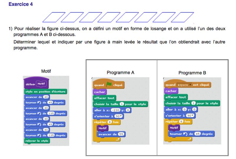 exercice brevet programmation
