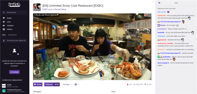Twitch Social Eatng