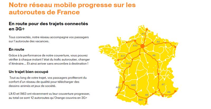 Orange 4G autoroutes