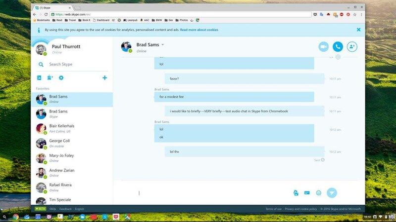 Chromebook Skype web