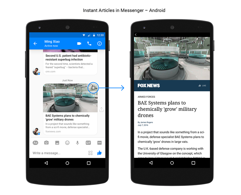 Facebook Instant articles Messenger