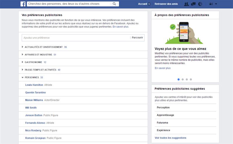 Facebook publicité préférences