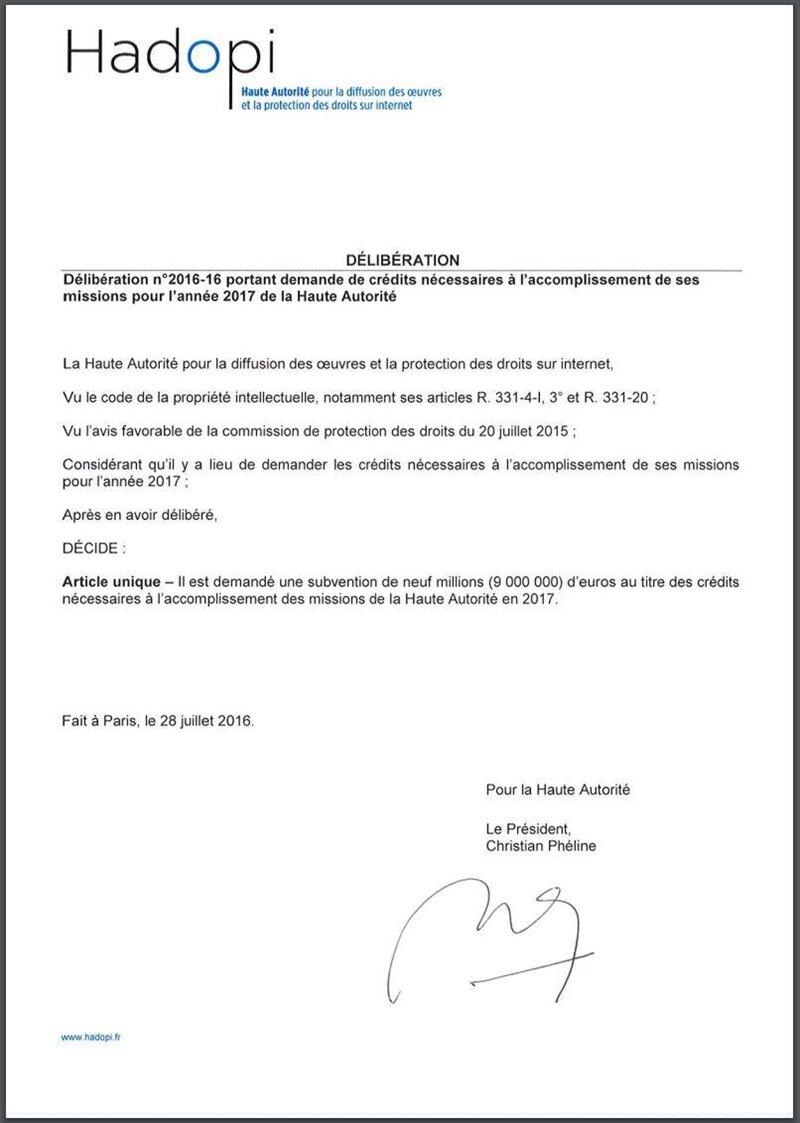 hadopi 9 millions d'euros 2017