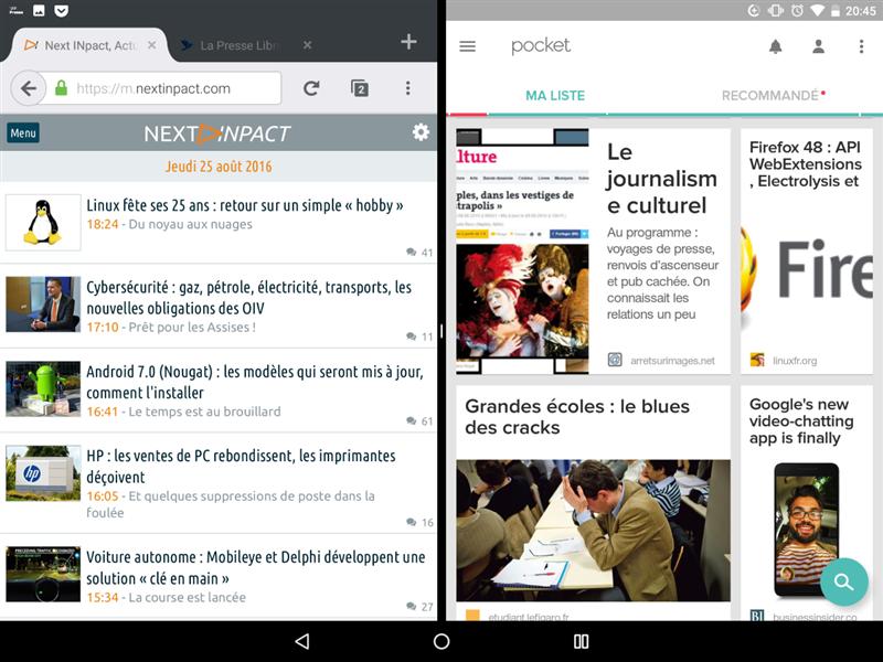 Android N écran partagé