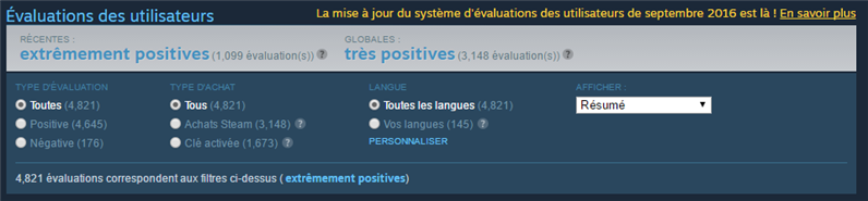 Steam Reviews Filtre