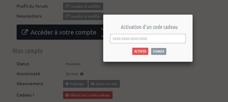 Activation Code Cadeau Premium Parrainage