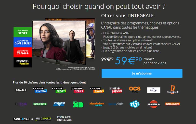 Canal Nouvelles offres Tarifs Intégrale