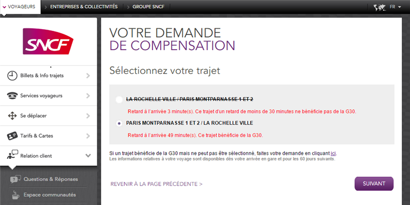 SNCF G30 retard