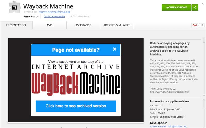 Internet Archive extension Chrome