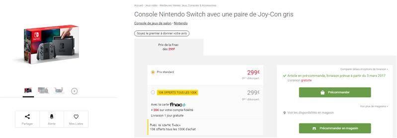 Nintendo Switch précommande