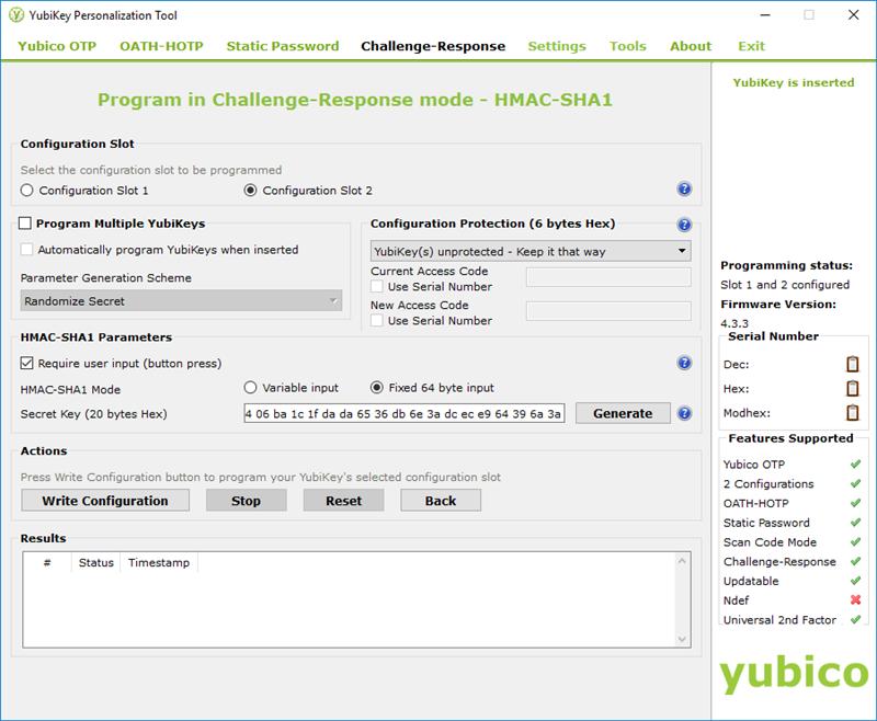 Yubikey KeePass HMAC-SHA1