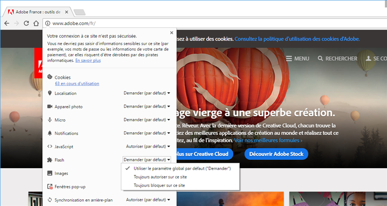 Blocage Flash Chrome