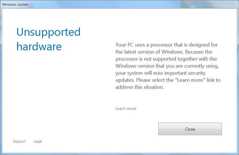 windows 7 blocage update kaby lake ryzen
