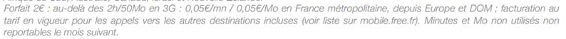 Free Mobile roaming forfait 2 euros