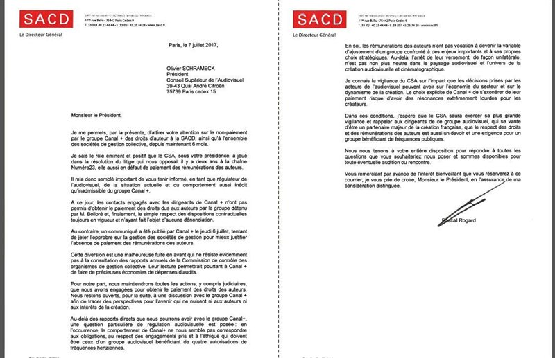 lettre sacd pascal rogard Canal SACD