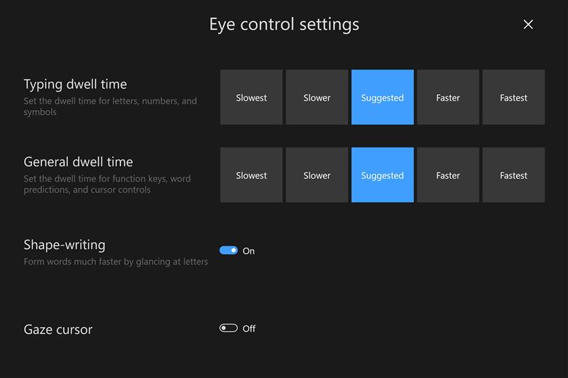 windows 10 eye tracking control