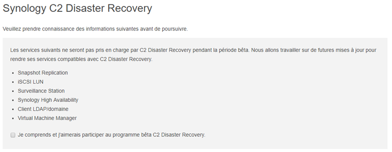 Synology C2 Disaster Recovery