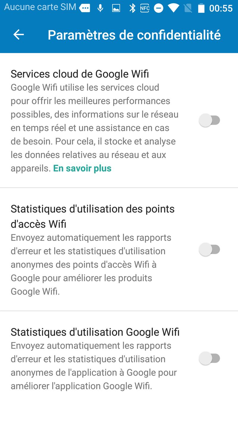Google Wifi Paramètres