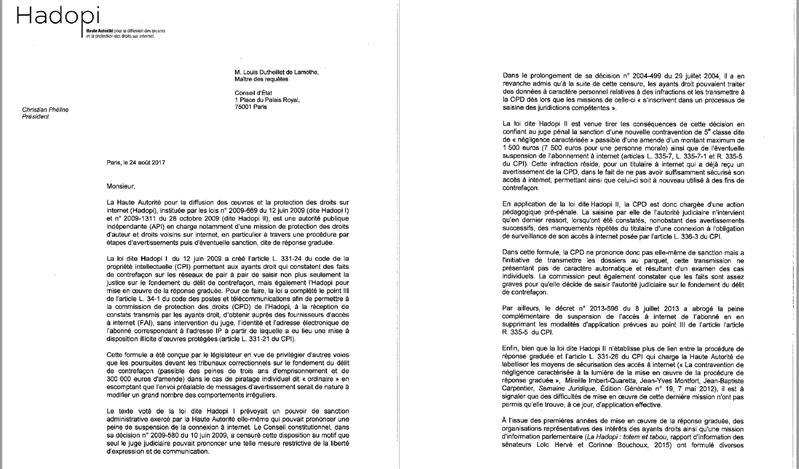 hadopi amende lettre conseil d'état
