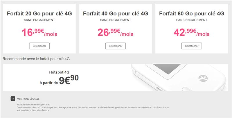 roaming Bouygues Telecom forfait clé 4G tablette