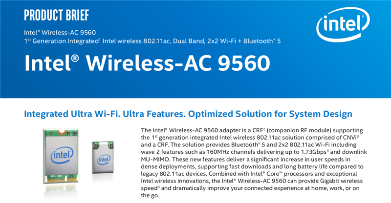Intel Wireless-AC 9650 Gigabit Wi-Fi