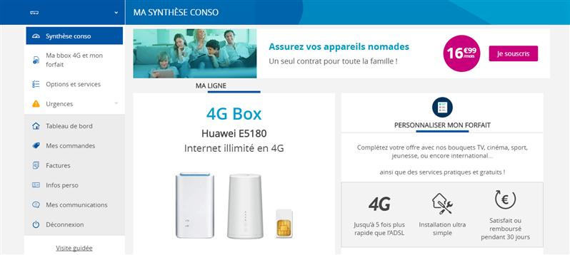 4B Box illimité Bouygues Telecom Interface