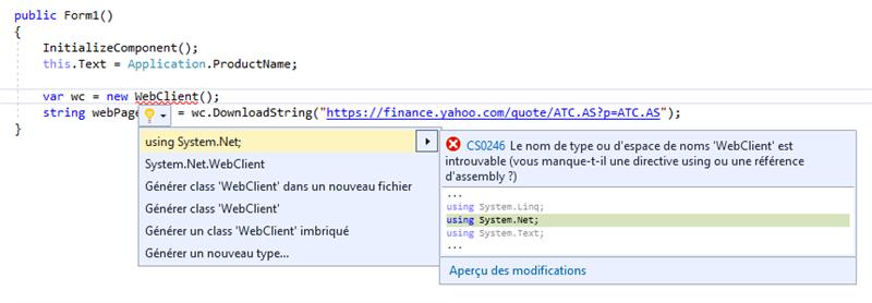 Visual Studio C# Correction