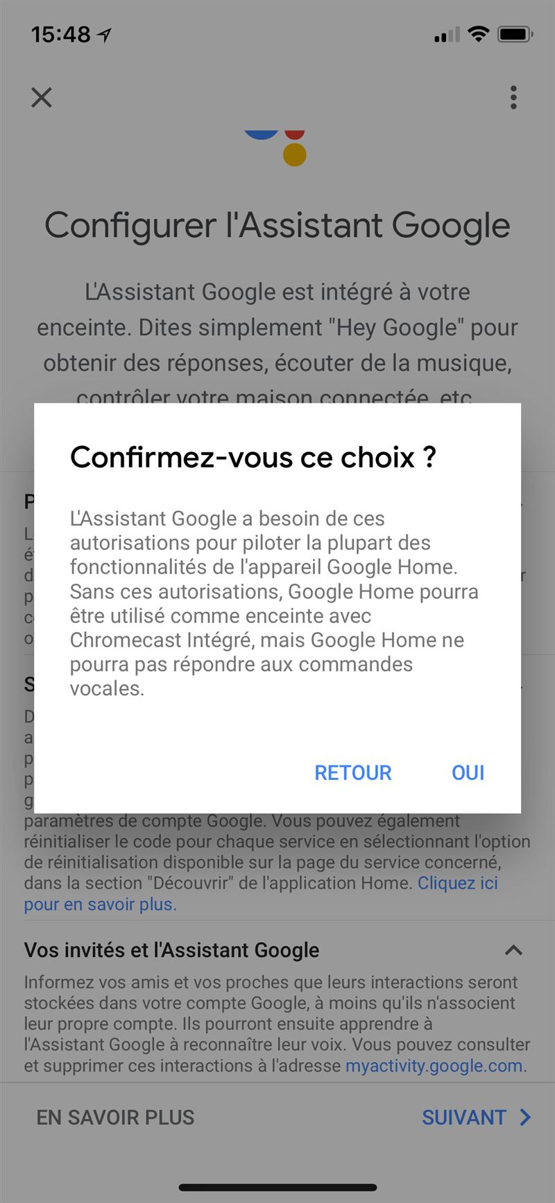 Google Home Choix forcé