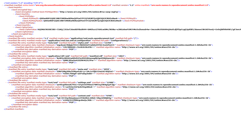 gpg4libre LibreOffice XML Encryption