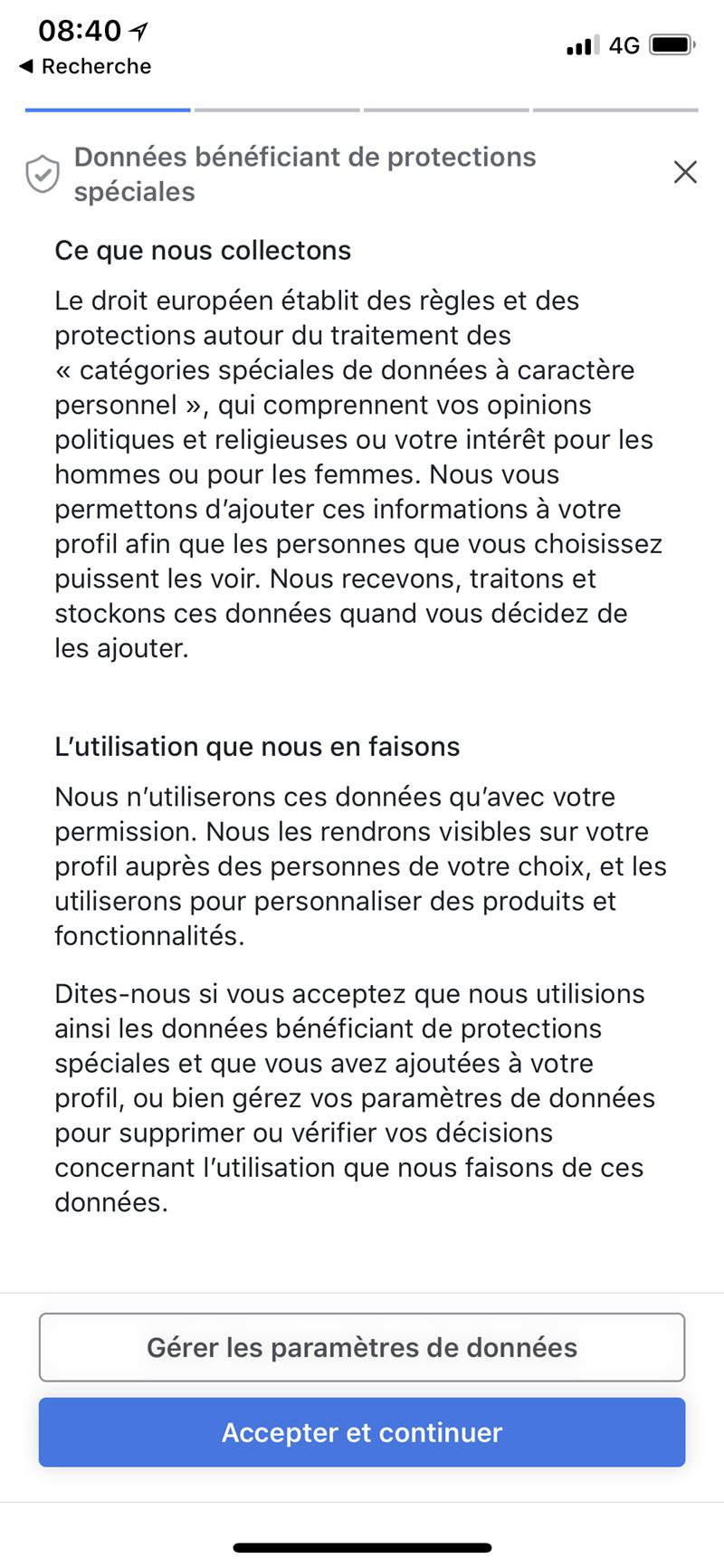 Facebook Vie privée