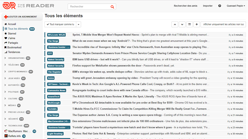 The Old Reader RSS