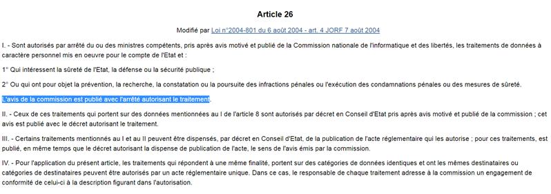article 26 loi CNIL