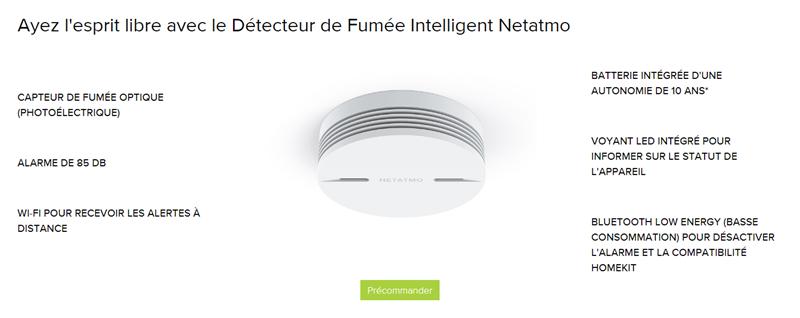 Detecteur fumée Netatmo