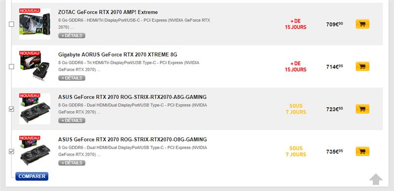 GeForce RTX 2070 Tarifs