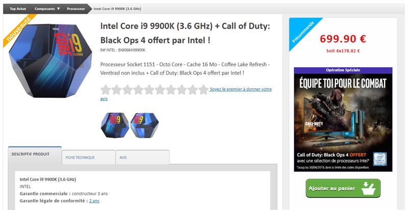 Core i9-9900K Tarif