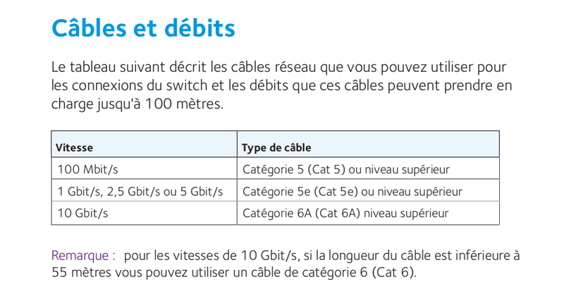10 Gb/s Câbles Cat 6 Documentation Netgear GS110MX