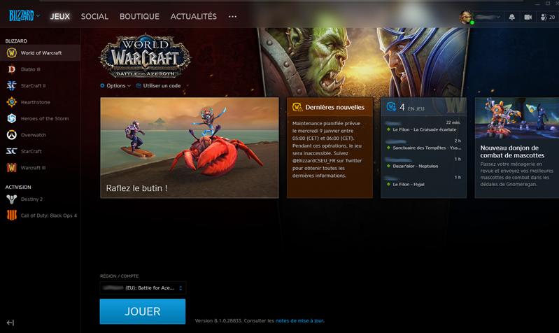 Battle.net Interface