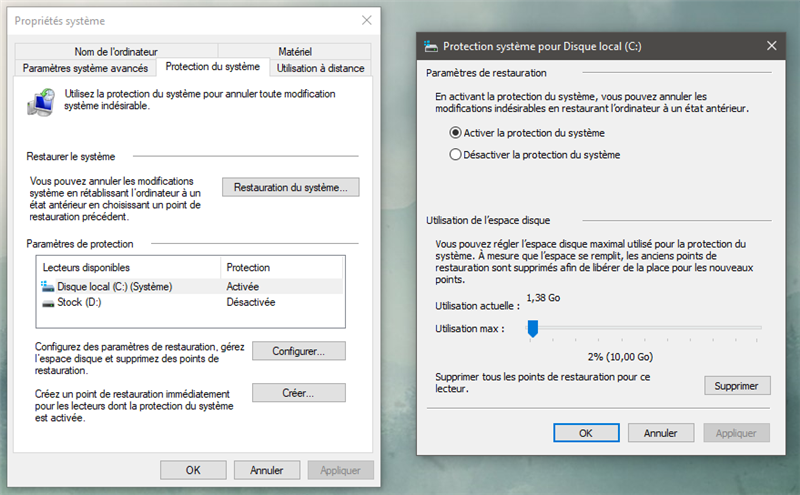 Windows 10 restauration
