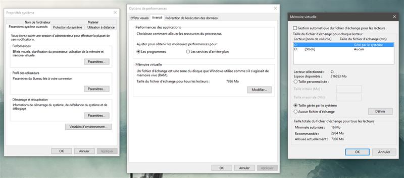 Windows 10 mémoire virtuelle