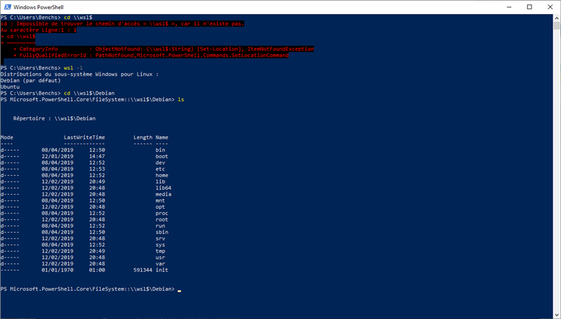 WSL PowerShell Windows 10 May 2019