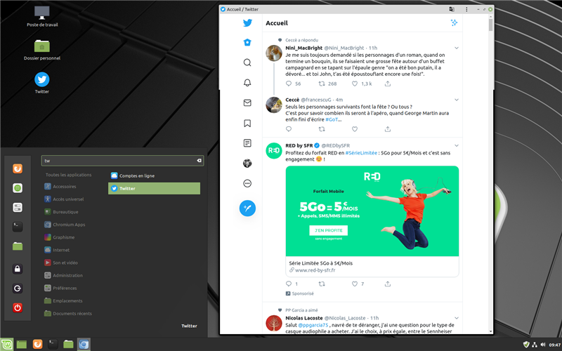 Linux Mint Twitter notification desktop