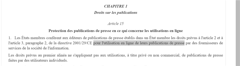 article 15 droit d'auteur droit voisin