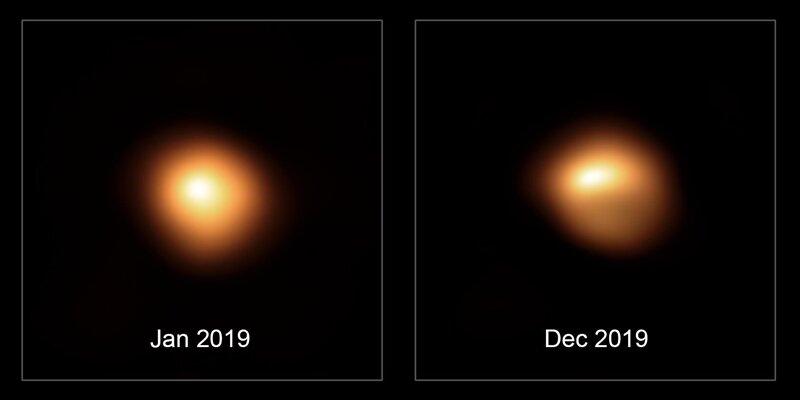 Bételgeuse avant et après l'affaiblissement