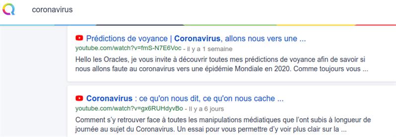 qwant coronavirus youtube